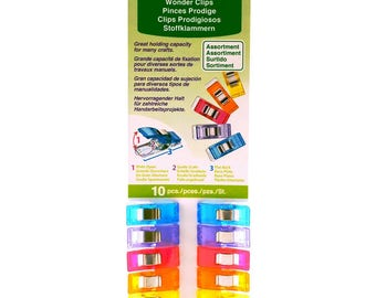 Rainbow Wonder Clips 10 piece Clover fabric sewing craft notions