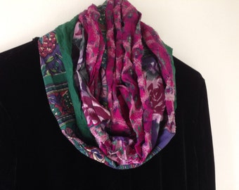 Infinity scarf, women's circle woven fashion, tribal Indian cotton silk green pink blue teal purple Bohemian Lhasa 375a Life's an Expedition