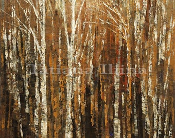 Hand textured giclee print on CANVAS of original forest painting PHANTOMS of the FOREST by Tatiana Iliina stretched #10/50