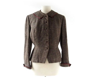 Vintage 1940s Jacket | Brown Tweed Jacket | 40s Jacket | Medium M
