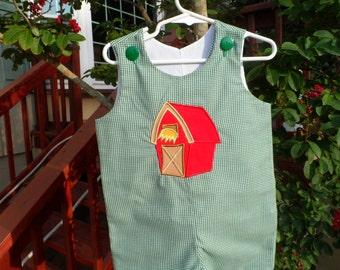 Boy's Jon Jon Romper Sizes 6 months to 4T  Barn on Green Gingham.  Personalized