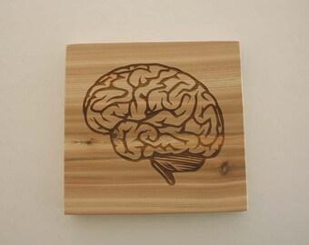 Brain Cedar Sign Laser Engraved Wood Sign Brain Medical Sign