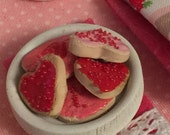 Sale Valentines Miniature Sugar Coookies, wooden platter and Kitchen Towel-1:12 scale