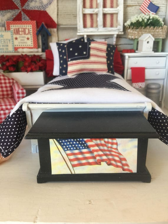 Americana style Black Blanket Chest Miniature Dollhouse 1:12 scale