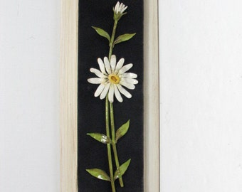 Enamel Floral Wall Sculpture by Eloisa on Black Velvet / Felt in Frame, Vintage Daisy Metal Wall Art Hanging