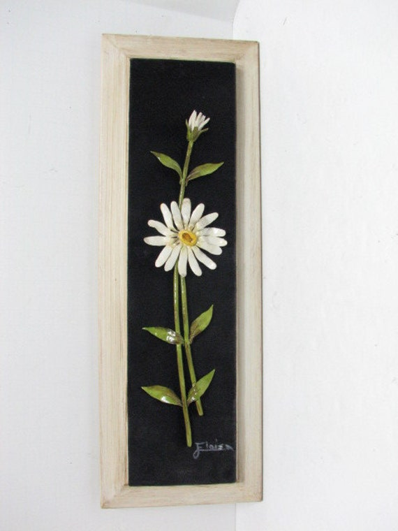 Vintage Enamel Floral Wall Sculpture by Eloisa on Black Velvet / Felt in Frame, Daisy Metal Wall Art