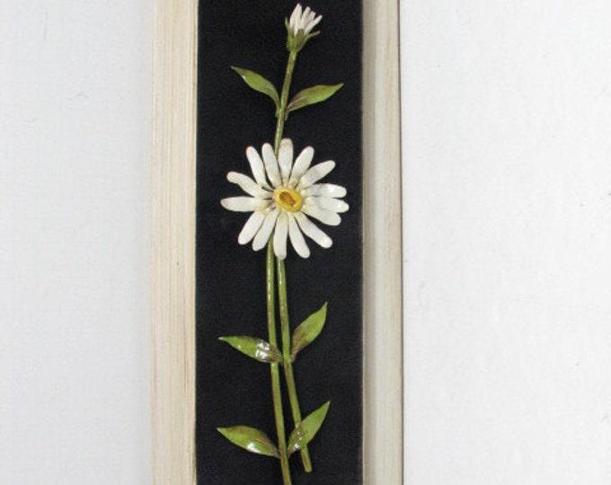 Vintage Enamel Floral Wall Sculpture by Eloisa on Black Velvet / Felt in Frame, Daisy Metal Wall Art