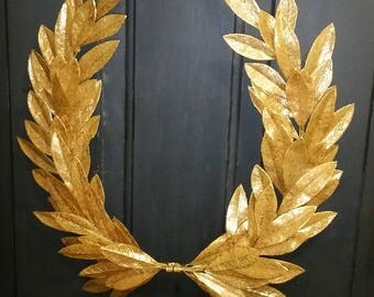 Year-round Everyday GILDED Gold Laurel Bay Leaf Crest Wreath  Peace Honor Victory Wedding Olympic Holiday Christmas Faux Artificial