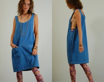 sale 25% rainy days sale Modern Sack Dress Vintage 90s Textured Denim Oversized Slouchy Sack Dress (os)