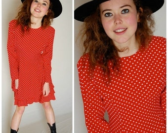 sale 25% rainy days sale Polka Dot Dress Vintage Red and White Polka Dot Drop Waist Boho Dress (s m)