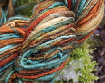 Handspun yarn, handpainted thick and thin worsted wool yarn, handmade yarn worsted bulky-Mrs. Fox