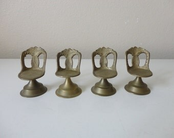VINTAGE set of 4 brass DOLLHOUSE CHAIRS