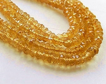 Citrine Gemstone, Faceted Rondelles, Semi Precious Gemstone Bead. 3.5  to 4mm, Strand Your Choice  (acttj)