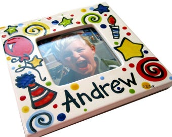 Handmade Ceramic Custom Personalized Picture Frame by Artzfolk Party style