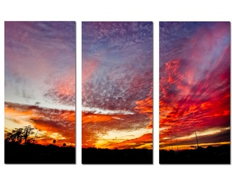 Amazing Florida Sunset Canvas Triptych, 3 Panel Art, LARGE, Ready to Hang