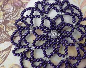 Purple Beaded Women Kippah - Beaded Kippah - Temple Headcovering - Yarmulkes for Woman.