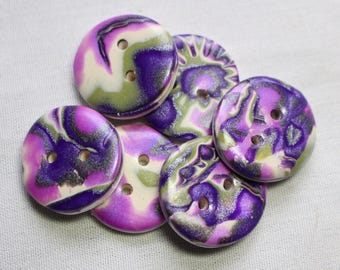 Purple and Green Buttons 1 inch Button No. 277