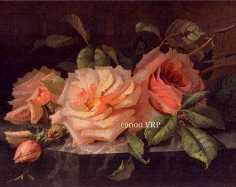 The Sweetest Roses No. 1, Art Print, Half Yard Long, Shabby Chic Decor, Roses