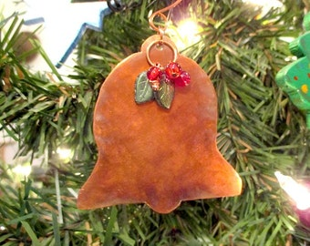 Christmas Ornament, Bell Ornament, Holiday Decor, Rustic Copper, Red & Green Beads, Metal Decoration, Xmas Tree Ornament, Holiday Gift Ideas