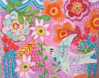 Small Contemporary Folk Art  Bird Painting