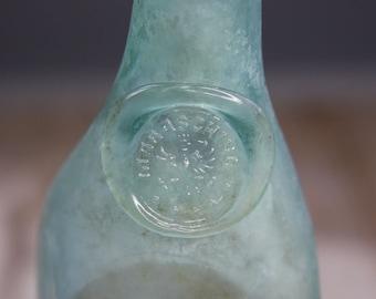 Antique TEAL BOTTLE- Marachino Liquor with Seal- Aqua Bottle- No Seams- Eagle Crest- Collectible Bottle- C14