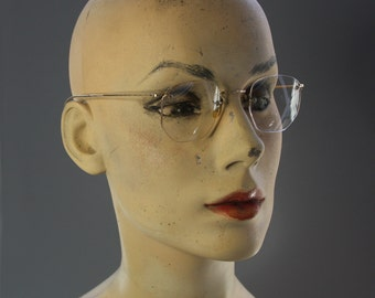 Vintage EYE GLASSES Rimless with Wire Temples 12K Gold Filled- with Original Case Wrap around Ears