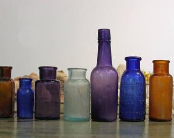 Instant Collection (7) SMALL BOTTLE GROUP -Purple Glass- Amber Brown- Cobalt Blue- Bromo Seltzer- Antique Bottle Lot- B5