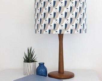 STUDIO SALE Blue and Grey Owl print Drum Lampshade Lamp Shade Lightshade