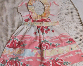 Vibrant SUNDRESS TEA TOWEL Red Cherries Berries Peaches Pink & White Peter Pan Collar Bands Trim, Sweet Kitchen Wall Hanger Cotton Handmade