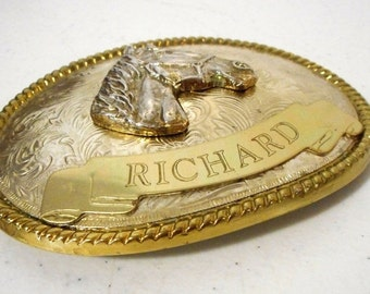 Large Horse Belt Buckle Cowboy Western Wear Silver Gold Richard Country Personalized