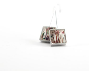 Hey Hey Earrings multi-colored stripes resin and sterling silver earring- colorful recycled christams ornaments
