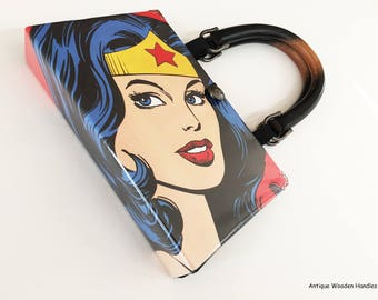 Wonder Woman Book Purse - Super Mom Clutch - Katy Perry Recycled Bag - Retro Gift - Lynda Carter Wonder Woman Gift - Halloween Accessory