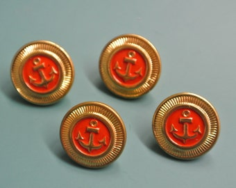 Lot of 10 small vintage 1960s unused goldcolor/ red metal anchor motive buttons for your sewing/decoration prodjects