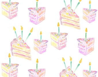 Watercolor Fabric - Birthday Cake By Erinanne - Watercolor Cotton Fabric By The Yard With Spoonflower