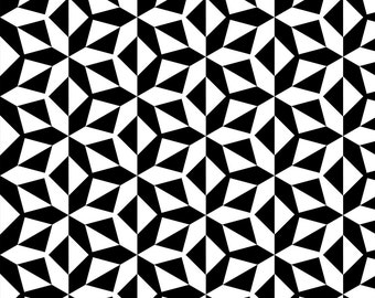 Mod Black And White Fabric - Triangle Maze Geometric By Mariafaithgarcia - Modern Black And White Cotton Fabric By The Yard With Spoonflower