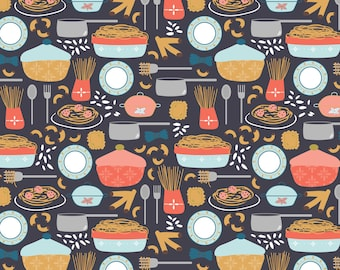 Fun Food Fabric - Sunday Dinner - Main By Jenniferlabre - Abstract Food Kitchen Decor Cotton Fabric By The Yard With Spoonflower