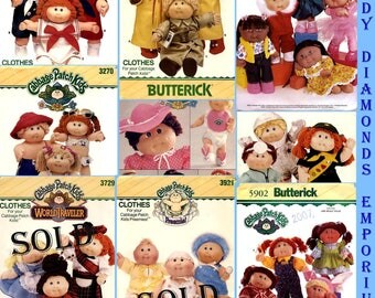 15 Cabbage Patch Kids Doll Clothes Patterns U-PICK Butterick 3151 3152 3228 3270 3388 3728 3921 5902 6736 6827 6935 6980 Mostly 80's