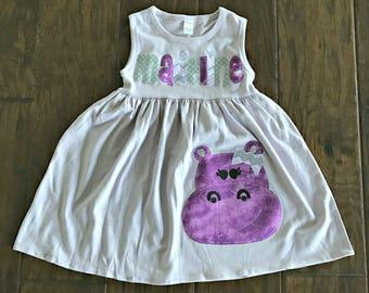 Girls Personalized Purple Hippo Dress - You Choose Size/Color/Name, 6 mo - size 8, animal  hippopotamus name custom theme party zoo gray
