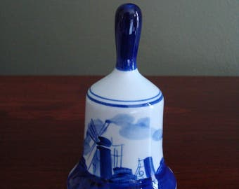 Pretty 1960s Blue Delft Bell, Cobalt Blue, Blue and White, Hand Painted Bell, DelftsBlauw, Windmills, Holland