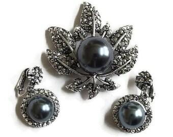 Vintage Marcasites & Dark Gray Hematite Glass Pearl Leaf Brooch and Dangle Earrings Demi Parure Set