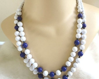 Vintage 2 Strand Beaded Necklace in White & Deep Blue Beads