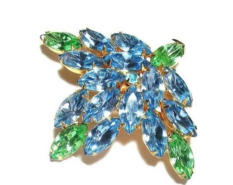 Vintage Rhinestone Brooch Sky Blue and Green