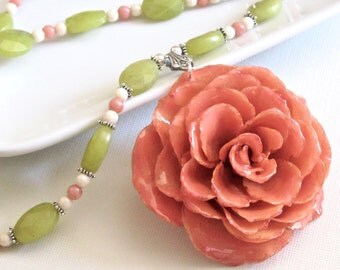 Large Real Rose Necklace - Peachy Pink, Flower Necklace, Real Flower Jewelry, Nature Jewelry, Gemstone, Jade