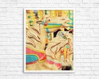 BUY 2 GET 1 FREE Carnival Photography, Carnival Poster, Carnival Ride, Fine Art Print, Nursery Decor, Wall Decor, Toronto Art, Horse Photo