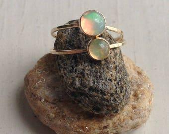 Ethiopian Welo Opal Gold Stacking Ring