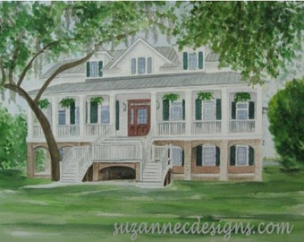 COMMISSIONED HOUSE PORTRAIT, Watercolor by Suzanne Churchill, Perfect Realtor Closing Gift, Housewarming, Wedding or Anniversary Gift