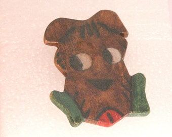 Vintage Wood Dog Pin Hand Painted