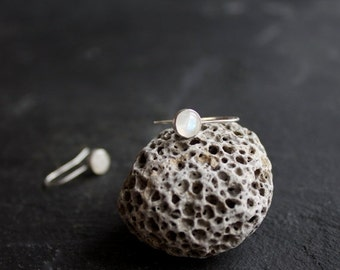 ON SALE Labradorite Sterling Silver Dangle Drop Earrings, White Light Blue Gemstone 6mm Stone Metalwork Jewelry