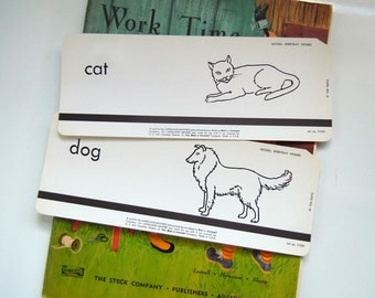 2 Vintage 1962 Flashcards Set Cat and Dog Flash Cards Pet Room Home Decor