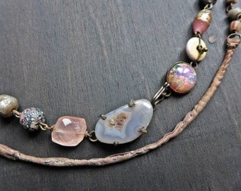 """Rustic feminine choker necklace with vintage beads - """"Hesychastic"""""""